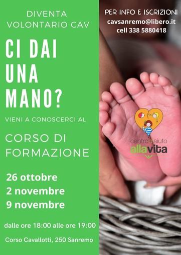Sanremo: dal 26 ottobre tre incontri per diventare volontari del Centro Aiuto alla Vita