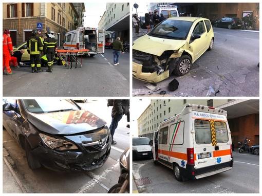 Imperia, incidente in pieno centro a Oneglia: ferito un ventenne (Foto)