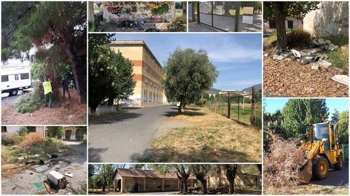 Taggia: pulizia intorno alla scuola nelle ex Caserme Revelli ma a pochi metri regna ancora il degrado (Foto)