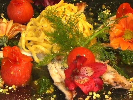 I Fiori nel piatto: Tagliolini con alici  e pesto di Calendula