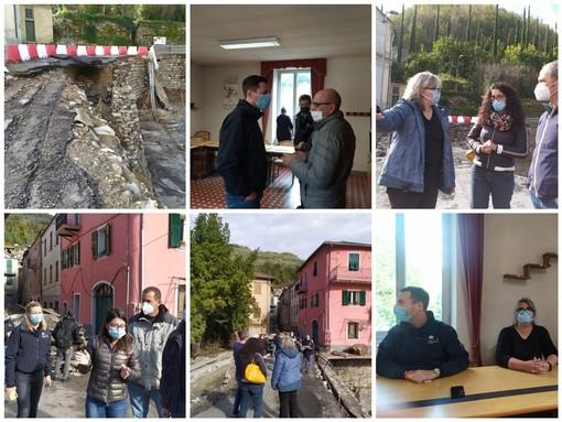 """Maltempo, sopralluogo della Regione a Vessalico. Giampedrone: """"Subito 600 mila euro di somme urgenze, ma i danni ammontano a un milione di euro"""" (Foto e video)"""