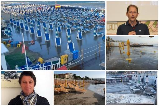 Il maltempo non risparmia Diano Marina, mareggiata colpisce gli stabilimenti a est e ovest: operatori balneari a lavoro per contenere i danni (foto)