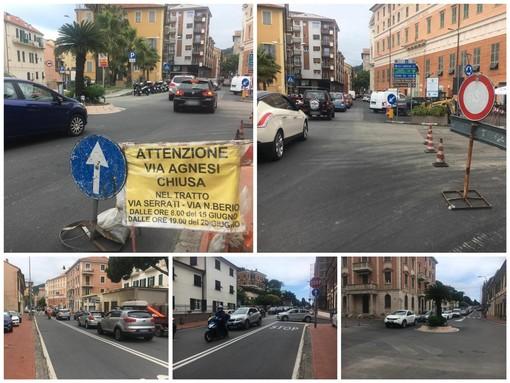 Imperia: asfalti in via Agnesi, lunghe code e lamentele tra gli automobilisti (foto e video)