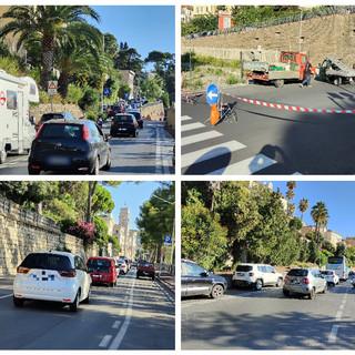 Imperia, chiuso per lavori il tratto dell'ex passaggio a livello di Porto Maurizio: traffico in tilt e disagi per gli automobilisti (foto)