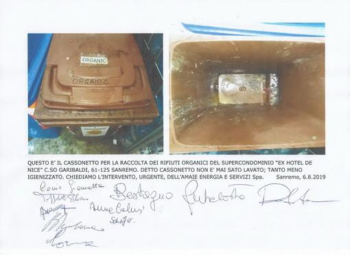 Sanremo: cassonnetto dell'organico in stato indecoroso, la segnalazione con foto di una lettrice