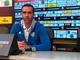 Nicola Ascoli, allenatore della Sanremese, nella sala stampa del 'Porta Elisa'