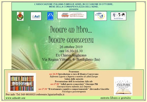Bordighera: sabato prossimo, 'Donare un libro, Donare conoscenza...' dell'Associazione Italiana Famiglie ADHD Odv