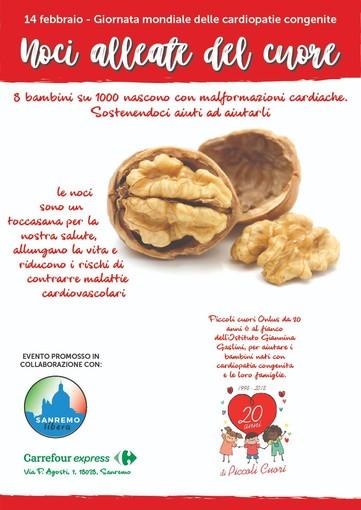 Sanremo: giovedì prossimo, evento 'Noci alleate del Cuore' a sostegno del progetto dell'Associazione Piccoli cuori ONLUS