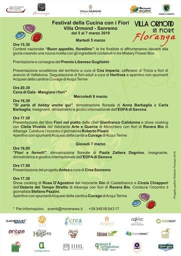 Sanremo Villa Ormond in Fiore: tutto pronto per il Primo Festival della Cucina con i Fiori