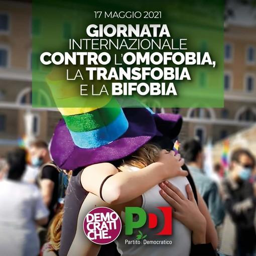 """Giornata internazionale contro l'omobitransfobia, il Pd Sanremo: """"Ci auguriamo sia l'ultima senza una legge che tuteli dalla violenza"""""""