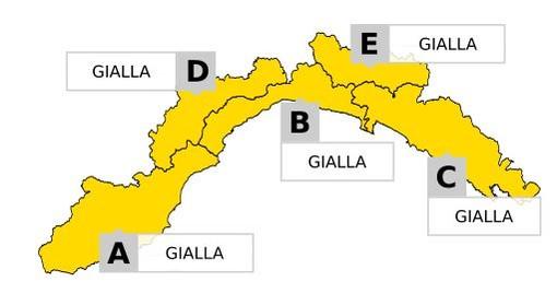 Dalle 6 di domani mattina, allerta meteo gialla per temporali su tutta la Liguria