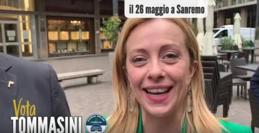 Elezioni comunali a Sanremo: la leader di Fratelli d'Italia Giorgia Meloni a sostegno del candidato Sindaco Sergio Tommasini (video)