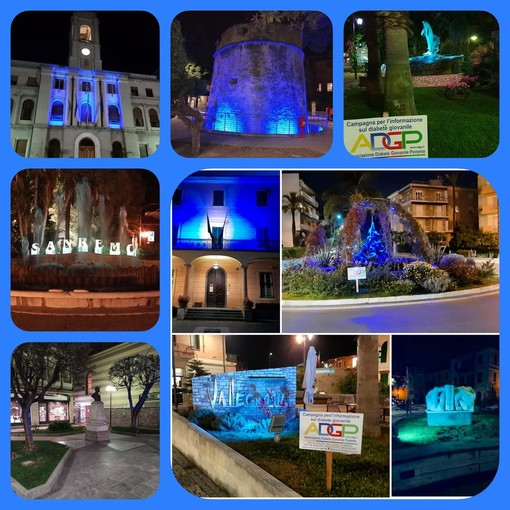 Da Ventimiglia a Imperia i comuni si illuminano di blu per la Giornata Mondiale del Diabete