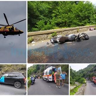 Scontro tra un'auto e una moto alle porte di Molini di Prelà: 55enne tedesco in gravi condizioni (Foto e video)