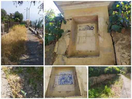 Imperia: incuria e atti vandalici lungo la scalinata del monte Calvario sempre più abbandonata al degrado (foto e video)