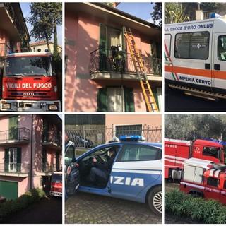 Imperia: panico per un incendio in un appartamento di via Diano Calderina (foto e video)