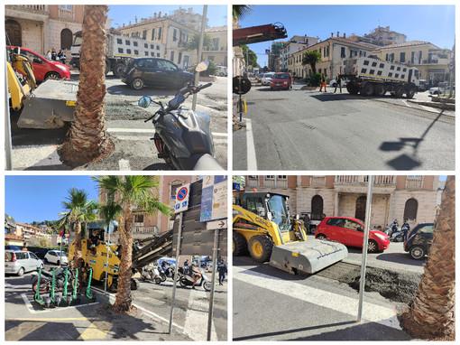 Imperia, lavori in corso per gli asfalti mandano in tilt il traffico sul Berta (foto)