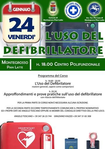 Il 24 gennaio a Montegrosso Pian Latte un corso sull'uso del defibrillatore insieme alla Croce Bianca di Pornassio