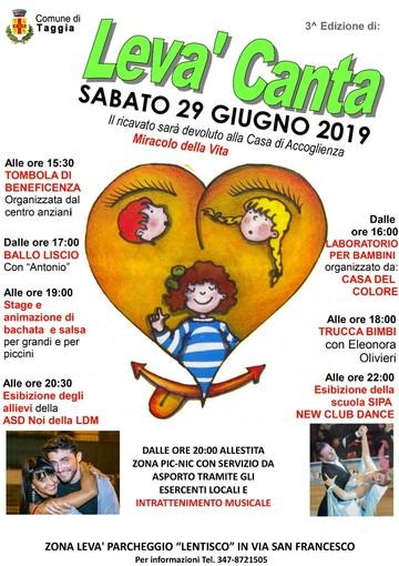 Taggia: sabato la terza edizione di Levà Canta, quest'anno beneficenza per la Casa di Accoglienza 'Miracolo della vita'