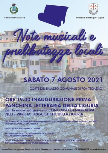 Pontedassio: sabato inaugurazione della prima panchina letteraria della Liguria e 'Note musicali e prelibatezze locali'