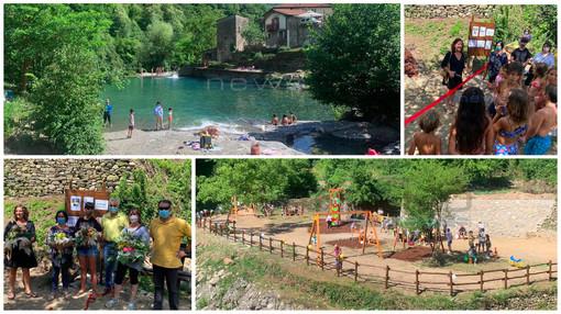 Dopo l'alluvione del 2016 è rinato il laghetto delle noci di Molini di Triora: inaugurata anche la nuova area giochi