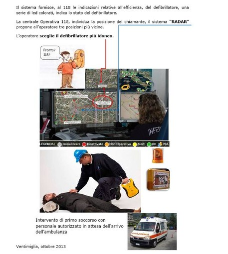 Parte da Ventimiglia il progetto di localizzazione dei defibrillatori su scala nazionale