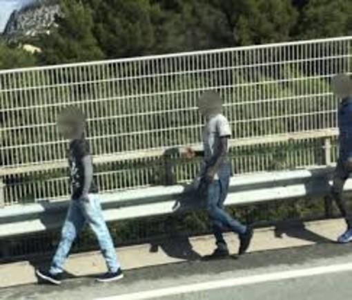 """Migranti in autostrada sul viadotto di Arma. Su Facebook piovono i commenti di odio: """"Schiacciateli tutti"""""""
