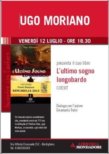 Bordighera: venerdì prossimo, presentazione libro di Ugo Moriano 'L'ultimo sogno longobardo'