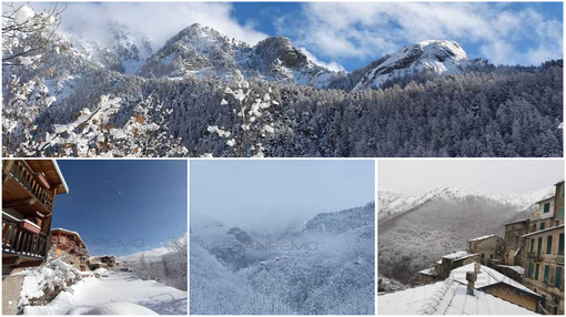 Nella gallery alcune foto della nevicata di queste ore a Verdeggia e Borniga, nel comune di Triora e a Carpasio, in valle Argentina ma anche a Bignone, San Romolo e Bajardo