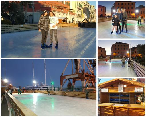 Imperia: inaugurata la pista di pattinaggio su ghiaccio in calata Cuneo (foto)