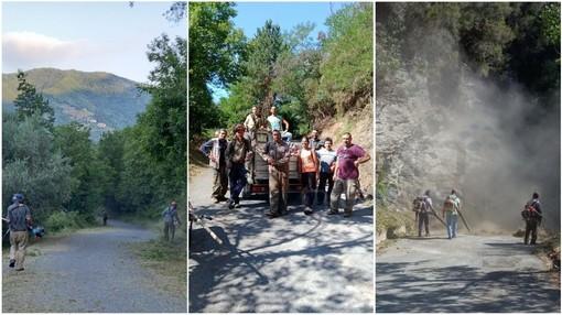 Molini di Triora: volontari in azione per la pulizia e la messa in sicurezza della strada per Glori