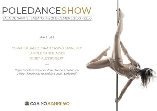 Sanremo: il 14 e 21 dicembre il 'Pole Dance Show' in sala De Santis del Casinò