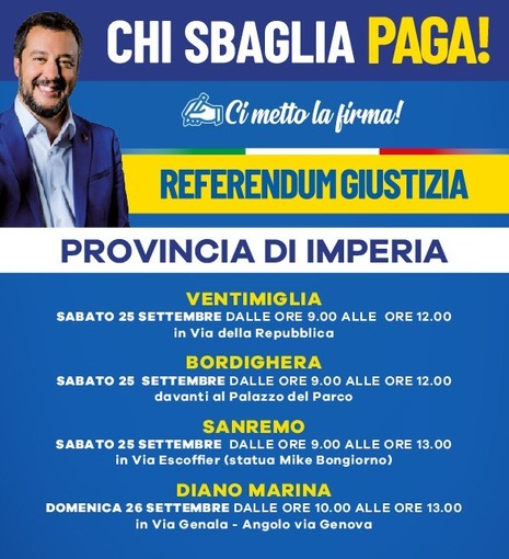 Referendum Giustizia, sabato in provincia di Imperia i gazebo per firmare