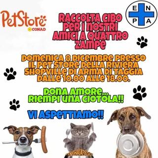 Arma di Taggia: domenica prossima, raccolta cibo dell'Enpa al Pet Store della Riviera Shopville