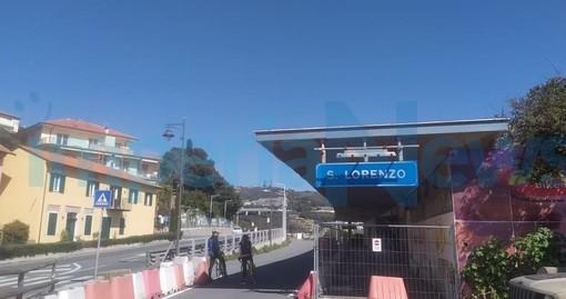 L'inizio della pista ciclabile alla stazione di San Lorenzo al Mare