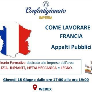 """""""Come lavorare in Francia - Appalti Pubblici"""", il 18 giugno seminario online con Confartigianato"""