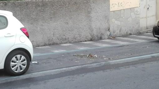 Imperia: via Verdi, l'immondizia spazzata finisce sotto le auto parcheggiate, protestano i residenti (foto)