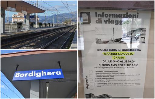 Bordighera: stazione dei treni, biglietteria chiusa a due giorni da Ferragosto, disagi per i viaggiatori in partenza dalla città delle palme