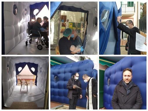 """Coronavirus, nella rsa di Pontedassio arriva la stanza degli abbracci: """"Un contatto umano mancato ai nostri anziani per quasi un anno"""" (foto e video)"""