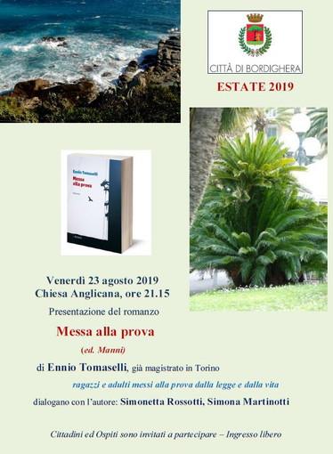Bordighera: domani, presentazione del romanzo 'Messa alla prova' di Ennio Tomaselli