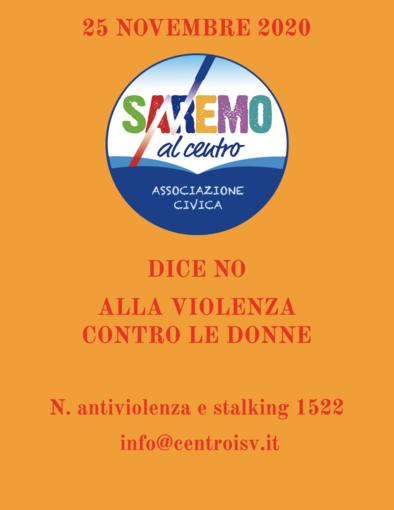 Giornata internazionale contro la violenza sulle donne, anche l'associazione 'Sanremo al centro' al fianco di chi subisce abusi