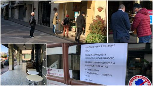 Arma di Taggia: cornetto e caffè in zona arancione, pochissimi bar aperti e spunta anche un cartello di protesta (Video servizio)